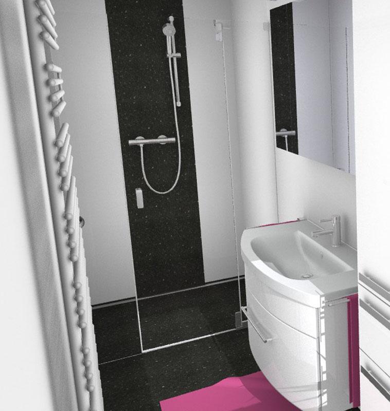 3D-Planung Duschbereich mit Waschbecken und Handtuchheizung