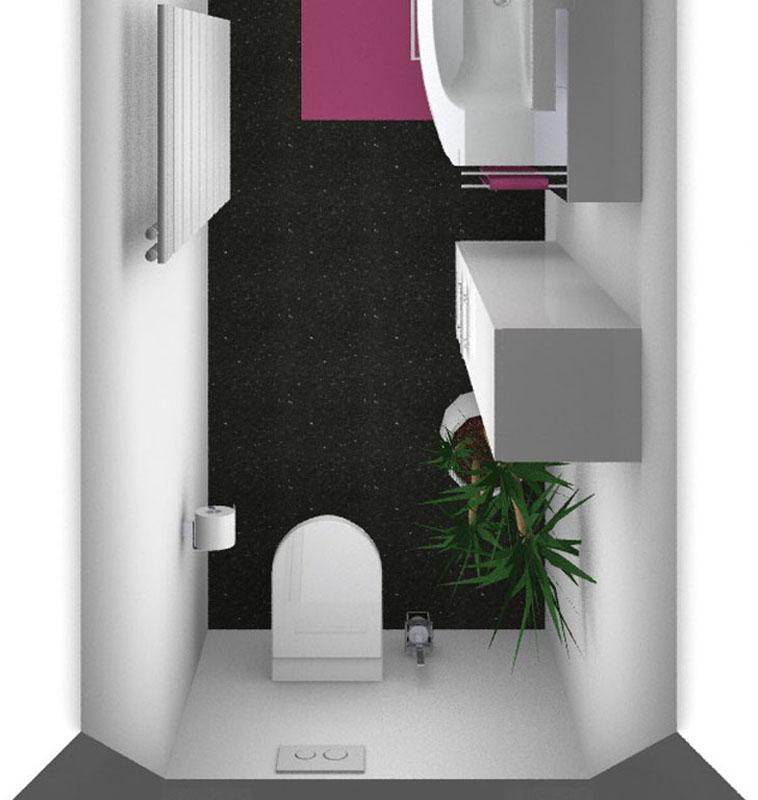 Das geplante Mädchen-Badezimmer von oben