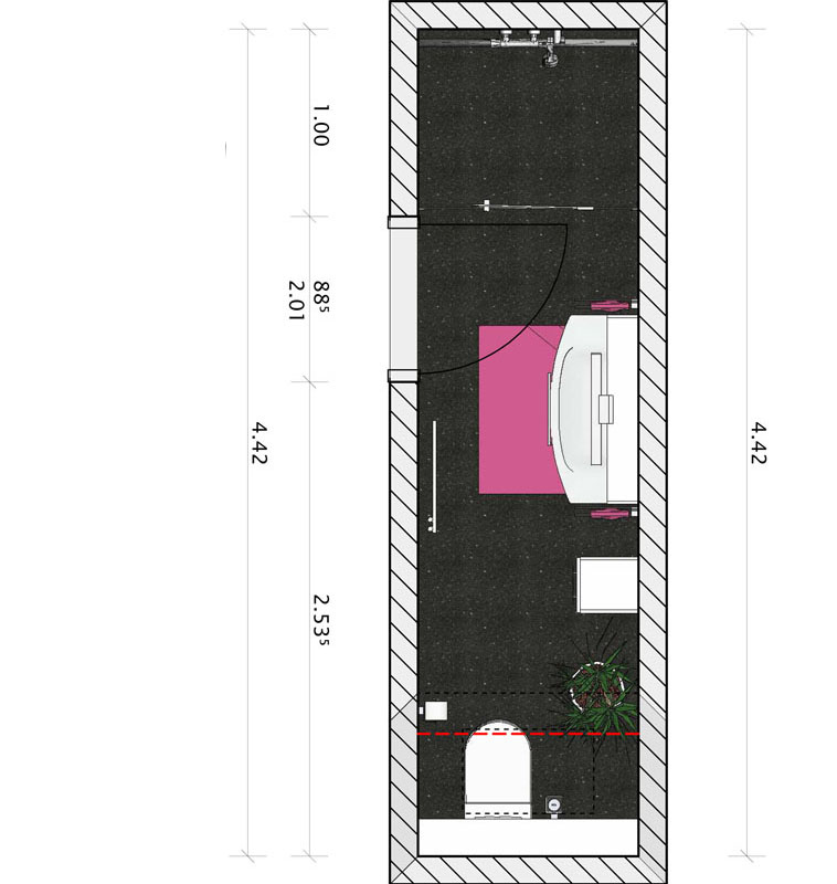 Der Grundriss für ein gesondertes, kleines Badezimmer