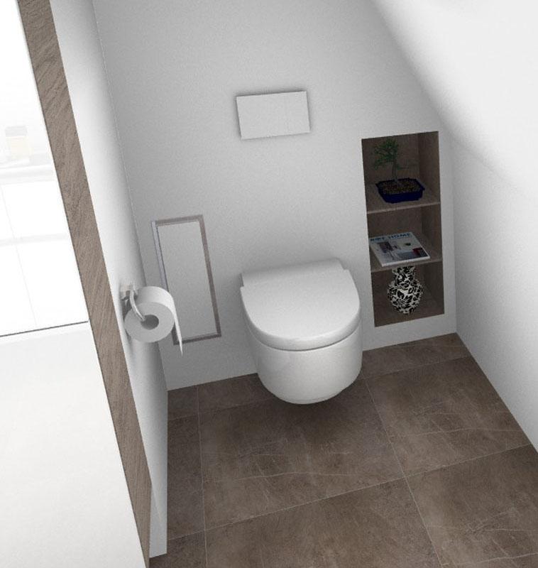 Toilette mit in die Wand integriertem Regal