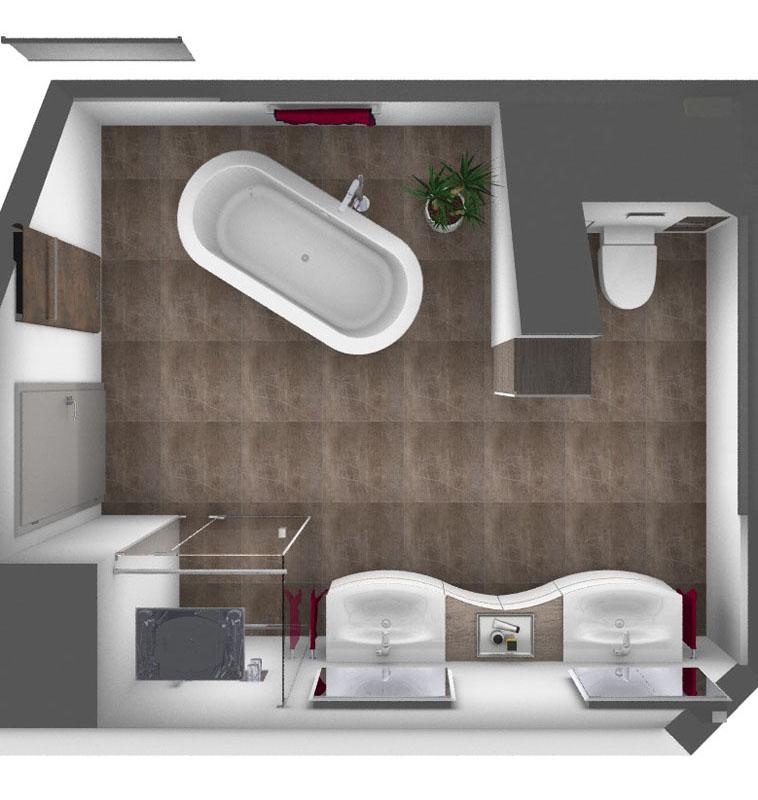 Ansicht eines 3D Plans für die Umgestaltung eines Badezimmers