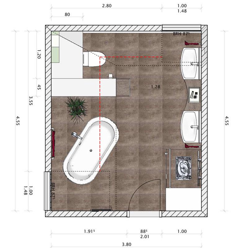 Der Grundriss für ein großes Badezimmer mit zwei Waschbecken, Toilette, Dusche und freistehender Badewanne