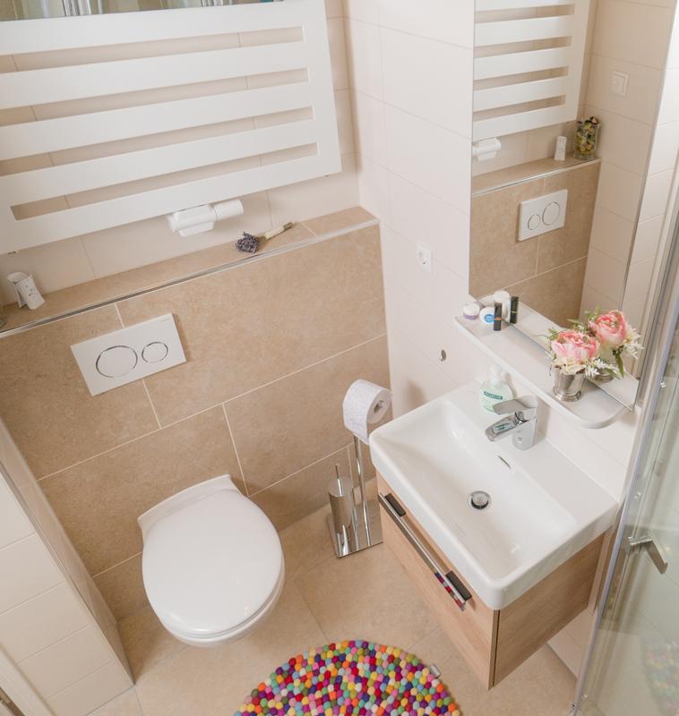 Waschbecken, Duschkabine und Toilette