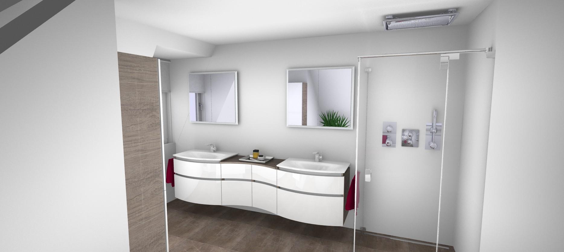 3D Blick auf Doppelwaschbecken und Duschkabine