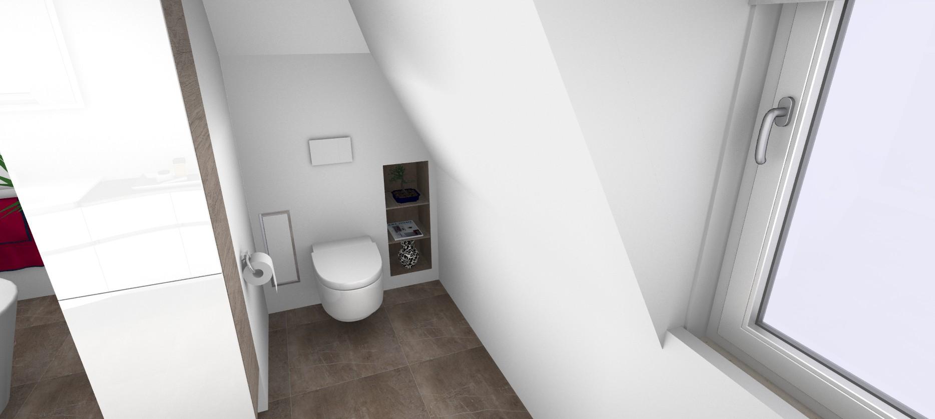 3D Blick auf den WC-Bereich im großen Badezimmer