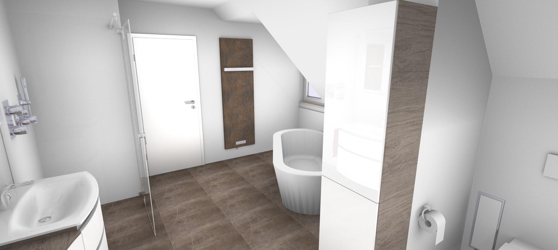 3D Blick in das geplante große Badezimmer